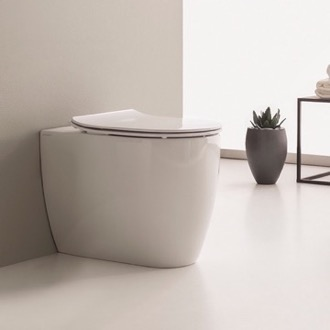 Round White Ceramic Floor Mount Toilet Scarabeo 5522