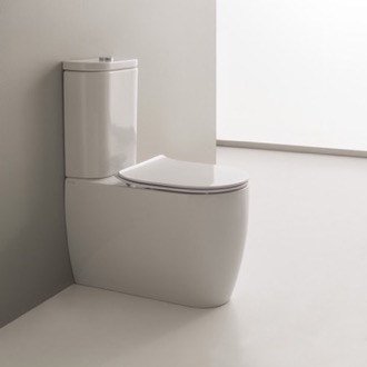 Round White Ceramic Floor Toilet Scarabeo 5526