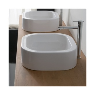 Curved White Ceramic Vessel Bathroom Sink Scarabeo 8306