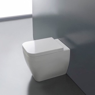 Round White Ceramic Floor Toilet Scarabeo 8309