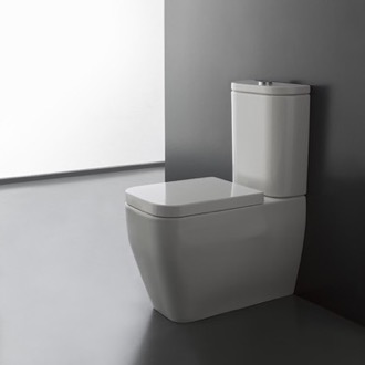 Round White Ceramic Floor Toilet Scarabeo 8311