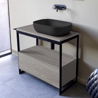 Console Sink Vanity With Matte Black Vessel Sink and Grey Oak Drawer Scarabeo 1804-49-SOL3-88
