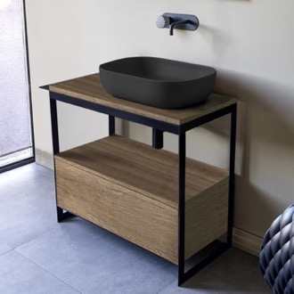 Console Sink Vanity With Matte Black Vessel Sink and Natural Brown Oak Drawer Scarabeo 1804-49-SOL3-89