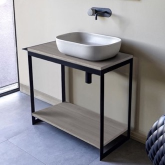 Console Sink Vanity With Ceramic Vessel Sink and Grey Oak Shelf Scarabeo 1804-SOL4-88