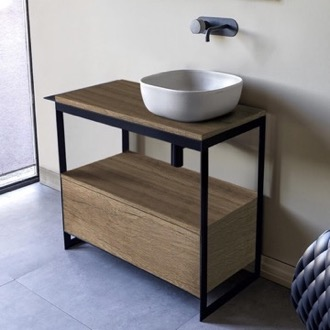 Console Sink Vanity With Ceramic Vessel Sink and Natural Brown Oak Drawer Scarabeo 1806-SOL3-89