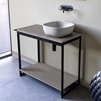 Console Sink Vanity With Ceramic Vessel Sink and Grey Oak Shelf Scarabeo 1806-SOL4-88