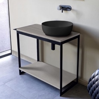 Console Sink Vanity With Matte Black Vessel Sink and Grey Oak Shelf Scarabeo 1807-49-SOL4-88