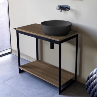 Console Sink Vanity With Matte Black Vessel Sink and Natural Brown Oak Shelf Scarabeo 1807-49-SOL4-89