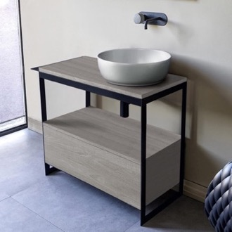 Console Sink Vanity With Ceramic Vessel Sink and Grey Oak Drawer Scarabeo 1807-SOL3-88