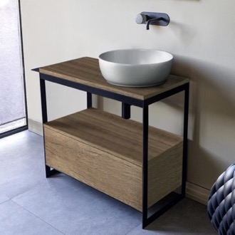 Console Sink Vanity With Ceramic Vessel Sink and Natural Brown Oak Drawer Scarabeo 1807-SOL3-89