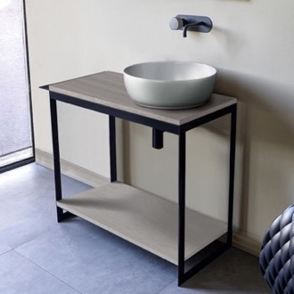 Console Sink Vanity With Ceramic Vessel Sink and Grey Oak Shelf Scarabeo 1807-SOL4-88
