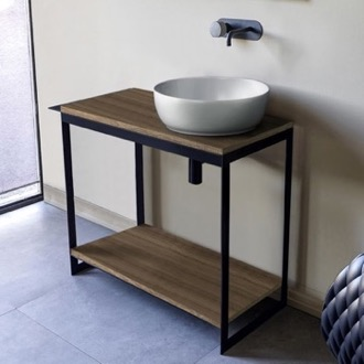 Console Sink Vanity With Ceramic Vessel Sink and Natural Brown Oak Shelf Scarabeo 1807-SOL4-89