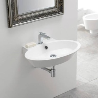 Bathroom Sink Oval Shaped White Ceramic Wall Mounted or Vessel Bathroom Sink 2003 Scarabeo 2003