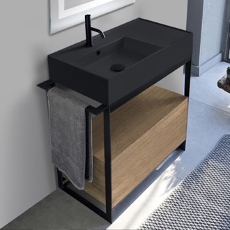Console Sink Vanity With Matte Black Ceramic Sink and Natural Brown Oak Drawer Scarabeo 5115-49-SOL1-89