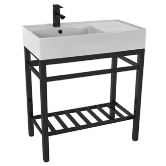 Modern Ceramic Console Sink With Counter Space and Matte Black Base Scarabeo 5115-CON2-BLK