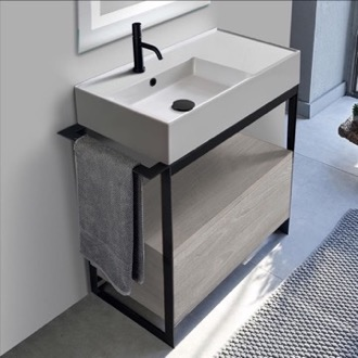 Console Sink Vanity With Ceramic Sink and Grey Oak Drawer Scarabeo 5115-SOL1-88