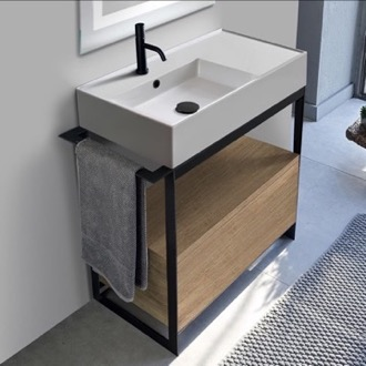 Console Sink Vanity With Ceramic Sink and Natural Brown Oak Drawer Scarabeo 5115-SOL1-89