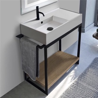 Console Sink Vanity With Ceramic Sink and Natural Brown Oak Shelf Scarabeo 5115-SOL2-89