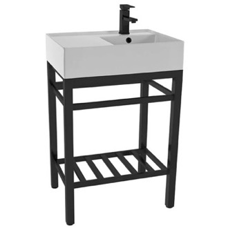 Modern Ceramic Console Sink With Counter Space and Matte Black Base Scarabeo 5117-CON2-BLK