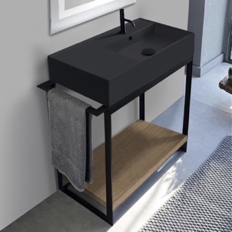 Console Sink Vanity With Matte Black Ceramic Sink and Natural Brown Oak Shelf Scarabeo 5118-49-SOL2-89
