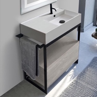 Console Sink Vanity With Ceramic Sink and Grey Oak Drawer Scarabeo 5118-SOL1-88