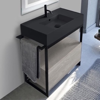 Console Sink Vanity With Matte Black Ceramic Sink and Grey Oak Drawer Scarabeo 5123-49-SOL1-88