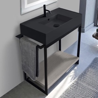 Console Sink Vanity With Matte Black Ceramic Sink and Grey Oak Shelf Scarabeo 5123-49-SOL2-88