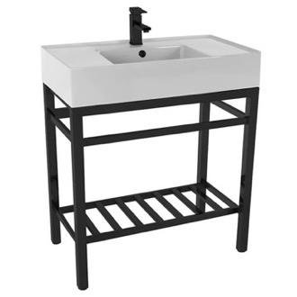 Modern Ceramic Console Sink With Counter Space and Matte Black Base Scarabeo 5123-CON2-BLK