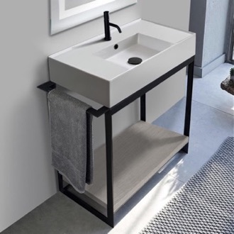 Console Sink Vanity With Ceramic Sink and Grey Oak Shelf Scarabeo 5123-SOL2-88