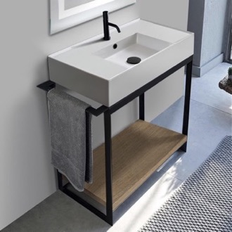 Console Sink Vanity With Ceramic Sink and Natural Brown Oak Shelf Scarabeo 5123-SOL2-89