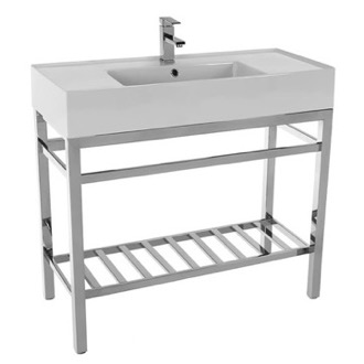 Modern Ceramic Console Sink With Counter Space and Chrome Base Scarabeo 5124-CON2