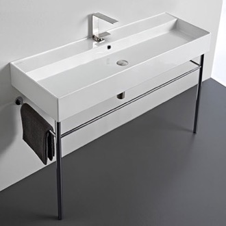 Large Rectangular Ceramic Console Sink and Polished Chrome Stand Scarabeo 8031/R-120A-CON