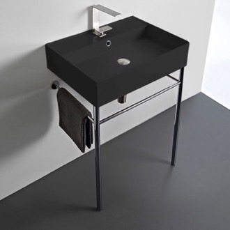 Matte Black Ceramic Console Sink and Polished Chrome Stand Scarabeo 8031/R-60-49-CON