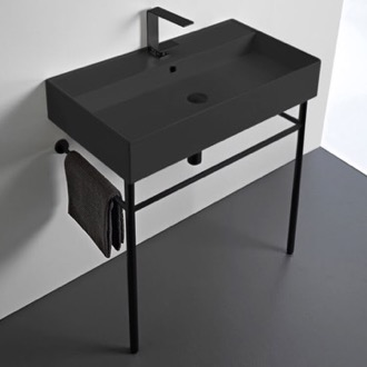 Matte Black Ceramic Console Sink and Matte Black Stand Scarabeo 8031/R-80-49-CON-BLK