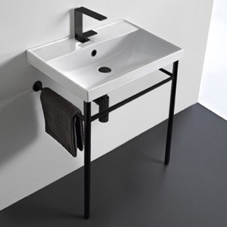 Ceramic Console Sink and Matte Black Stand Scarabeo 3004-CON-BLK