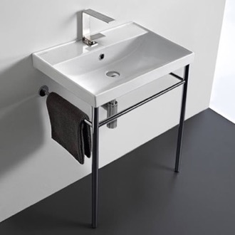 Rectangular Ceramic Console Sink and Polished Chrome Stand Scarabeo 3004-CON