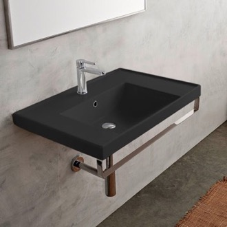 Wall Mounted Matte Black Ceramic Sink With Polished Chrome Towel Bar Scarabeo 3005-49-TB