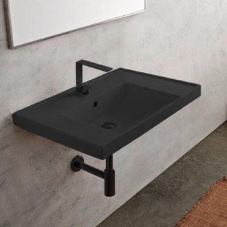 Rectangular Matte Black Ceramic Wall Mounted Bathroom Sink Scarabeo 3005-49