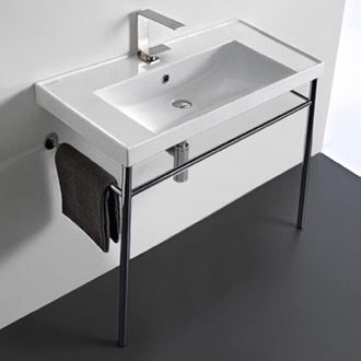 Rectangular Ceramic Console Sink and Polished Chrome Stand Scarabeo 3005-CON