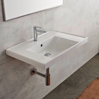 Rectangular White Ceramic Drop In or Wall Mounted Bathroom Sink Scarabeo 3005