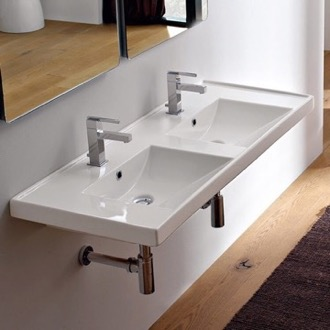 Rectangular Double White Ceramic Drop In or Wall Mounted Bathroom Sink Scarabeo 3006