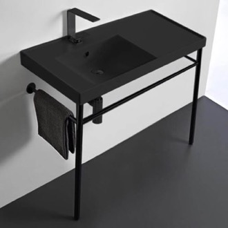 Matte Black Ceramic Console Sink and Matte Black Stand Scarabeo 3008-49-CON-BLK