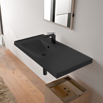Rectangular Matte Black Ceramic Wall Mounted Bathroom Sink Scarabeo 3008-49