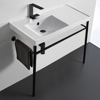 Rectangular Ceramic Console Sink and Matte Black Stand Scarabeo 3008-CON-BLK