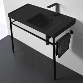 Matte Black Ceramic Console Sink and Matte Black Stand Scarabeo 3009-49-CON-BLK