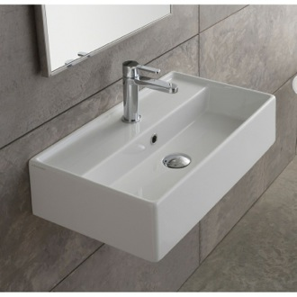 Bathroom Sink Rectangular White Ceramic Wall Mounted or Vessel Sink 5001 Scarabeo 5001