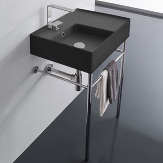Matte Black Ceramic Console Sink and Polished Chrome Stand Scarabeo 5114-49-CON