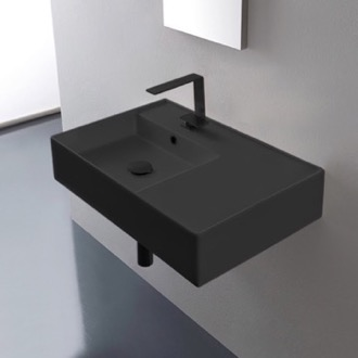 Matte Black Ceramic Wall Mounted or Vessel Sink With Counter Space Scarabeo 5114-49