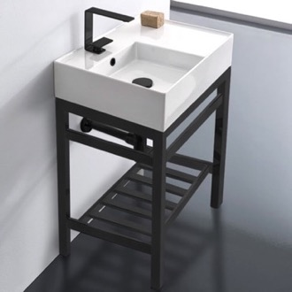 Modern Ceramic Console Sink With Counter Space and Matte Black Base Scarabeo 5114-CON2-BLK