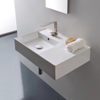 Rectangular Ceramic Wall Mounted or Vessel Sink With Counter Space Scarabeo 5114